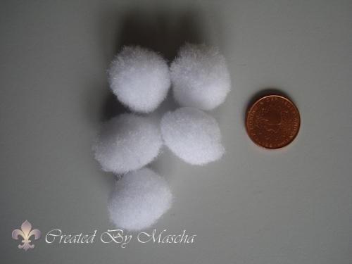 Pom-poms, 15 mm, wit