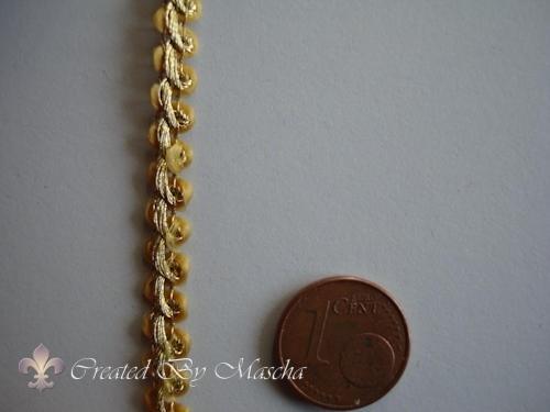 Decoratief gevlochten lint,10 mm, goud nr 59