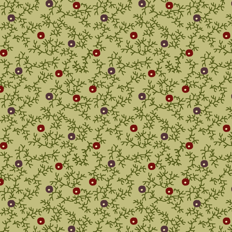 Contemporary, Blackberry Hedge, Sage Green