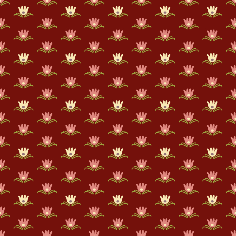 Contemporary, Water Lily, Cranberry Red