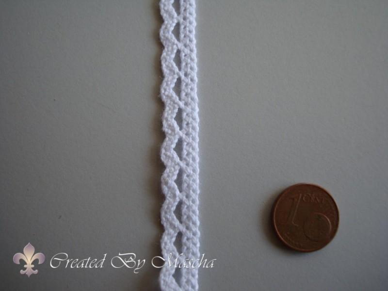 Gehaakt kanten lint, wit (10 mm) nr 37