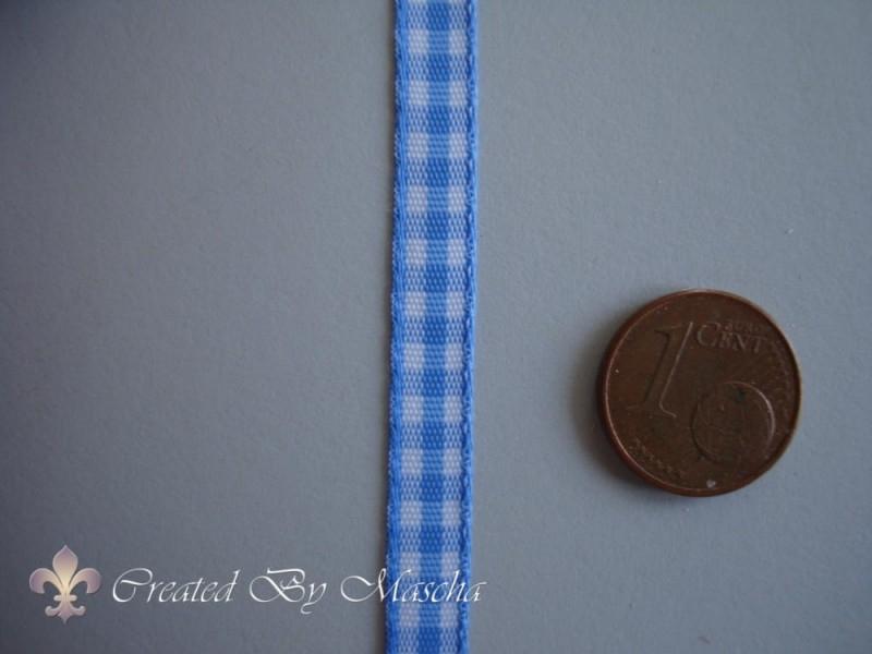 Geruit lint, wit/licht blauw (6 mm) nr 52