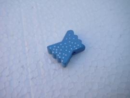 Houten vlinderstrikje - blauw