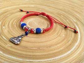 Rood/blauw shamballa armbandje