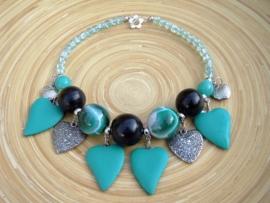 Turquoise/zwart ketting