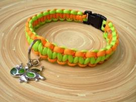 Groen/oranje hondenhalsband  Halsomvang 32