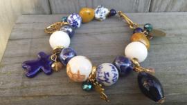 Delftsblauwe armband met goudtinten