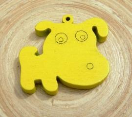 Gele bedel hond van hout