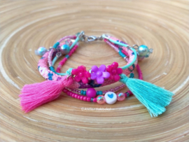 Armband met roze/turquoise Dreams koord