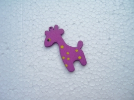 Paarse houten giraf bedel