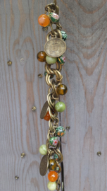 Bronkleurige gekettelde armband met grove schakels