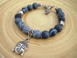 Armband met frosted crackle agaat