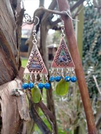 Blauw en groene oorbellen in Tibetaanse stijl