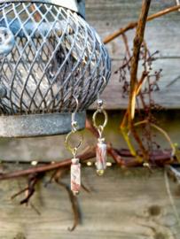 Keramieke oorbellen in turquoise en zilver