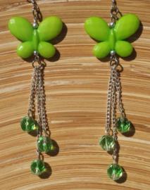Groene vlinder-oorbellen