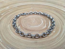 Stainless steel heren armband met ovale schakels