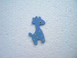 Blauwe houten giraf bedel
