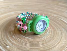 Groen siliconen horloge in Ibiza style met regenboog kralen