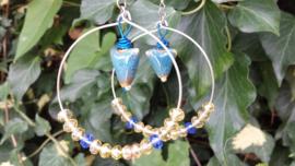 Blauw en goudtint oorbellen (creolen)