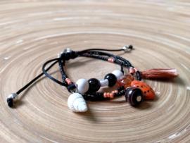 3 Delig armbandje in zwart, oranje en wit