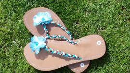Blauw/Bruine slippers maat 39