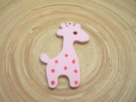 Oud roze houten giraf-bedel