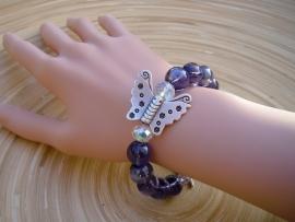 Vlinder armband met zware glasparels