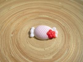 Cabochon wit/roze
