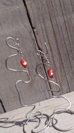 Handgemaakte oorbellen van zilverfoil murano glaskralen