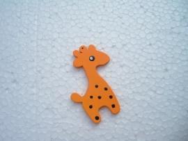 Oranje houten giraf bedel