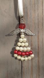 Beschermengel kersthanger in rood en wit