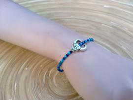 Skull armbandje in  verschillende blauwe tinten