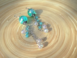 Aqua oorbellen
