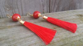 Rode keramieke oorbellen