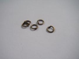 150 bronskleurige open ringetjes 5mm