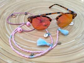 Roze/turquoise brillenkoord in Bohemian style