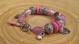 Roze armband met Lampwork glaskralen