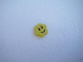 Houten bloemetje met gezichtje - geel