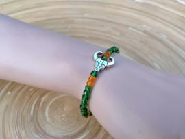 Skull armbandje in  groen en oranje