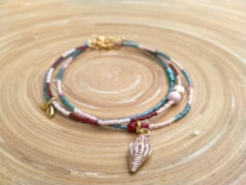 3 Delige set enkelbandjes in abrikoos/bordeaux rood en turquoise