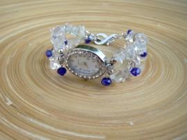 Horloge met splitkralen van glas in transparant en blauw