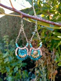 Turquoise bohemian style oorbellen