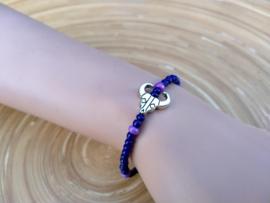 Skull armbandje in donkerblauw en lila