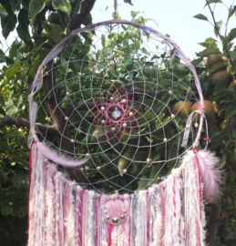 Roze dromenvanger/dreamcatcher Maat XL