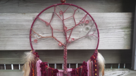 Dromenvanger tree of life bordeaux rood/old roze.  Maat M