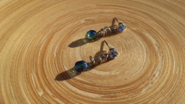 Strass-oorstekers in blauw/groen