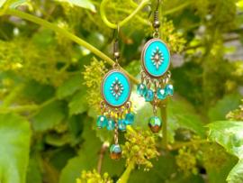 Turquoise/bruine oorbellen