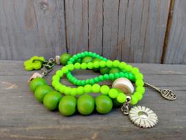 Groene armbanden set 3 dlg.