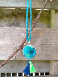 Blauw/groene Ibiza style ketting met schelp bloemenkraal