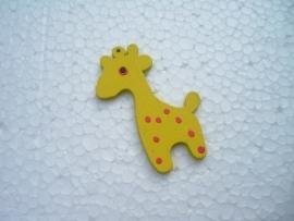 Gele houten giraf bedel